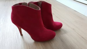 Tamaris Bottines plissées rouge framboise