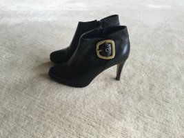 Buffalo London Peep Toe Booties black leather