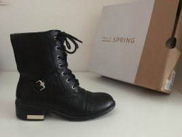 Call it Spring Lace-up Booties black-gold-colored imitation leather