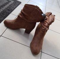 Zara Botki w stylu western brązowy