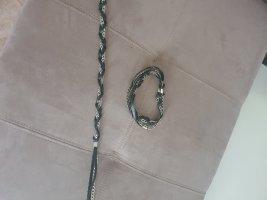 Cintura di pelle nero-argento
