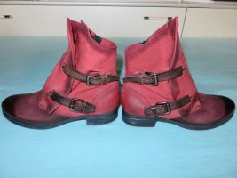 Best Company Zipper Booties purple-dark red leather