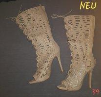 Stiletto High Heels Pumps zum Schnüren beige 39 *NEU*VB