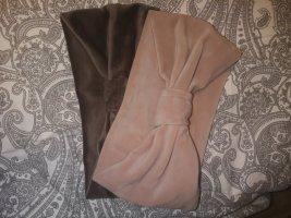 Orejeras marrón oscuro-rosa empolvado