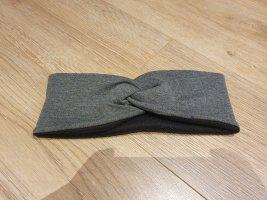 Stirnband grau schwarz Fleece