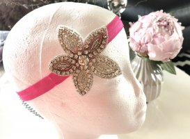 Stirnband Haarband pink silber schwarz
