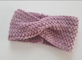 DIY Orejeras rosa empolvado tejido mezclado