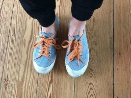 Scarpa da barca blu fiordaliso-arancione Cotone