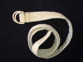 Pasek z materiału jasnobeżowy-khaki Bawełna