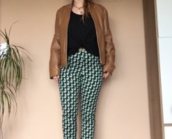 Stoffhose H&M Muster grün weiß Jeansstruktur