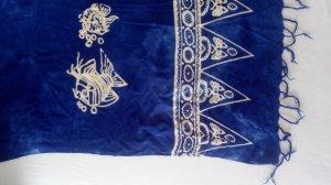 Vintage Ręcznik plażowy biały-niebieski