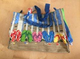 Strandtasche/Sommershopper mit Flip-Flop-Motiv & Pailetten