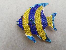 Strass Brosche Fisch