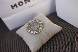 Brooch light grey-silver-colored metal