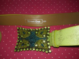 Street One Ceinture en cuir vert-argenté