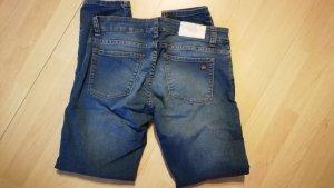 Jeans elasticizzati blu acciaio-blu fiordaliso