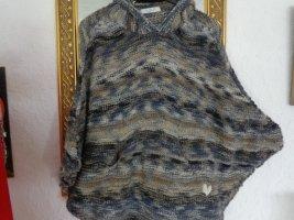 Poncho en tricot multicolore laine