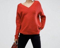 Strick Pullover mit V-Ausschnitt