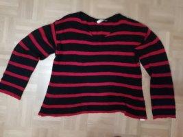Strick-Pullover rot-schwaz gestreift