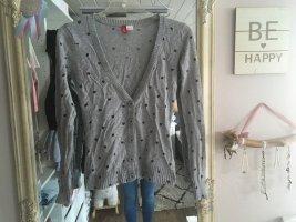 Strickjacke Cardigan von H&M in grau mit Herzen Größe XS