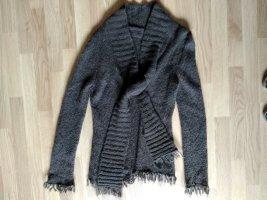 just B. Coarse Knitted Jacket dark brown wool