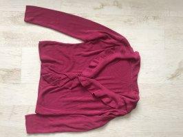 Strickjacke mit Rüschen pink