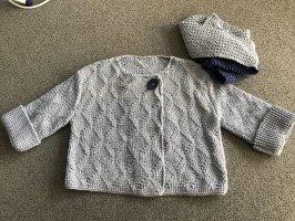 Strickjacke mit Schal, Baumwolle, hellblau, Handarbeit, Gr. 42