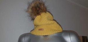 Barts Bobble Hat dark yellow mixture fibre
