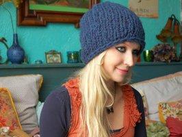 Etsy Knitted Hat cadet blue-cornflower blue