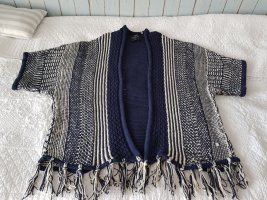 Cecil Knitted Poncho white-dark blue