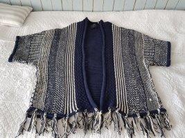 Cecil Knitted Poncho white-dark blue