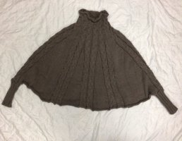 ohne Etikett Knitted Poncho grey brown