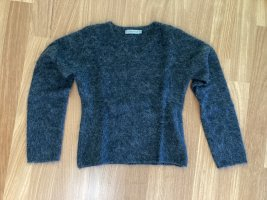 Turnover V-Neck Sweater dark grey wool
