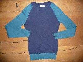 AJC Pull tricoté bleu foncé-bleu pétrole