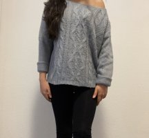 New Look Maglione intrecciato grigio ardesia-blu pallido