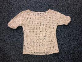 Top en maille crochet beige