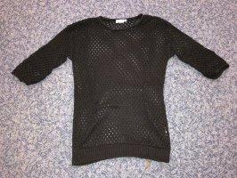 Top en maille crochet noir