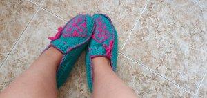 handmade Botas de casa rosa-azul cadete