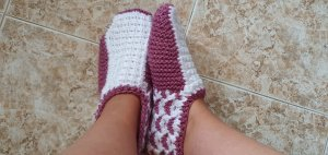 handmade House Boots white-pink