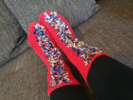 Pantoufles-chaussette rouge