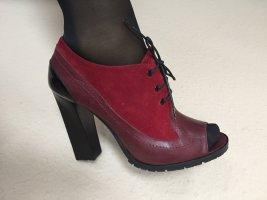 Pollini Peep Toe Booties black-bordeaux leather
