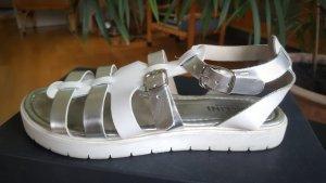 Pollini Sandalen met bandjes wit-zilver Polyurethaan