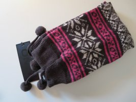 Only Legwarmers dark brown-pink wool