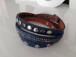 Stylebreaker Wickelarmband Armband Nieten Sterne  Strasssteine Leder