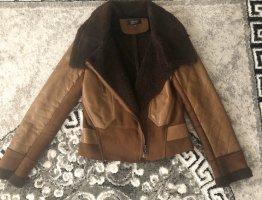 Stylische Jacke Leder Optik schokobraun Gr.34