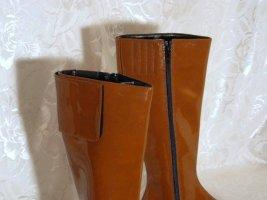 Stylische Lack Boots Stiefel Vintage 80-er DONNA CHRISTINA Größe 38