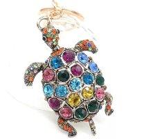 Stylische Schlüssel-/ Taschenanhänger glitzer Schildkröte, bunt, gold, Straß *NEU*