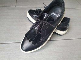 stylische Schuhe Sneaker Leder gr.37 schwarz