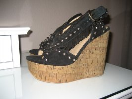 ASH Wedge Sandals black leather