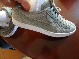 Alexander McQueen / Puma Basket à lacet gris vert-kaki cuir